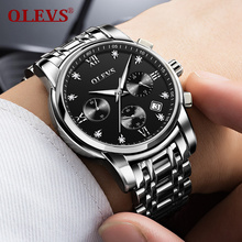 OLEVS Sports Wrist Watch For Men with Black Leather Guita Bracelet luminous Hands Auto Date Chronograph Waterproof Clock Watches olevs charm men business watches luminous hands clock watch day and date stainless steel bracelet waterproof wristwatch for man