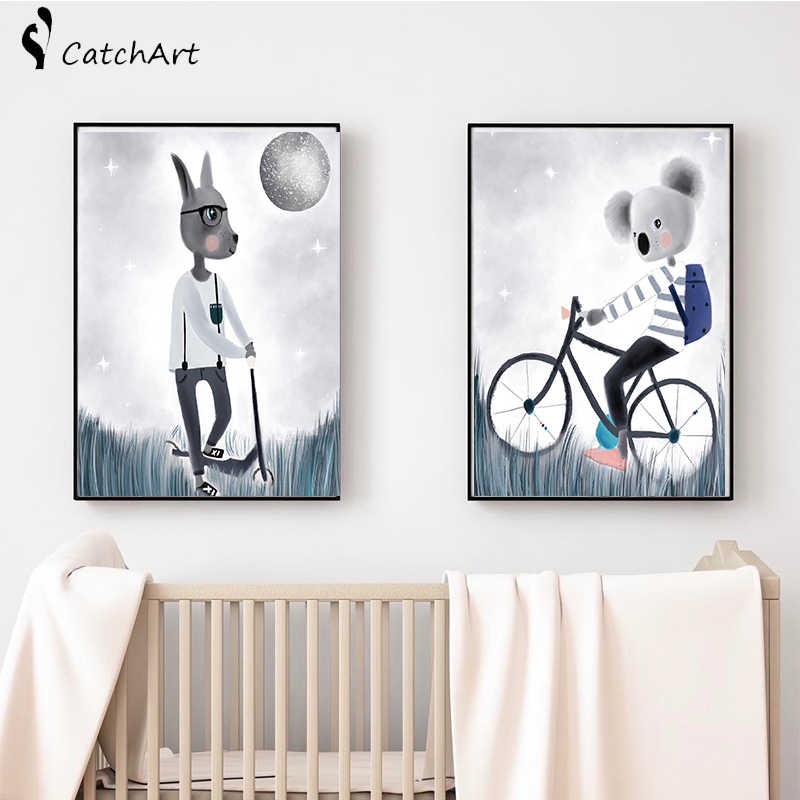 Watercolor  Bicycle Rabbit Boy Cartoon Whale Alpaca panda Canvas Decoration Painting Animal Art Poster Kids Baby Nursery Room