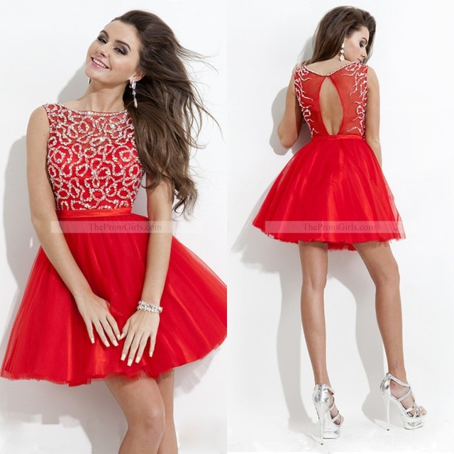 2015 Cute Short Prom Dress Red Scoop Neck Tulle Beading Junior Girls  Graduation Dresses Homecoming Dresses Party Dresses EM03196 f15f6e98f