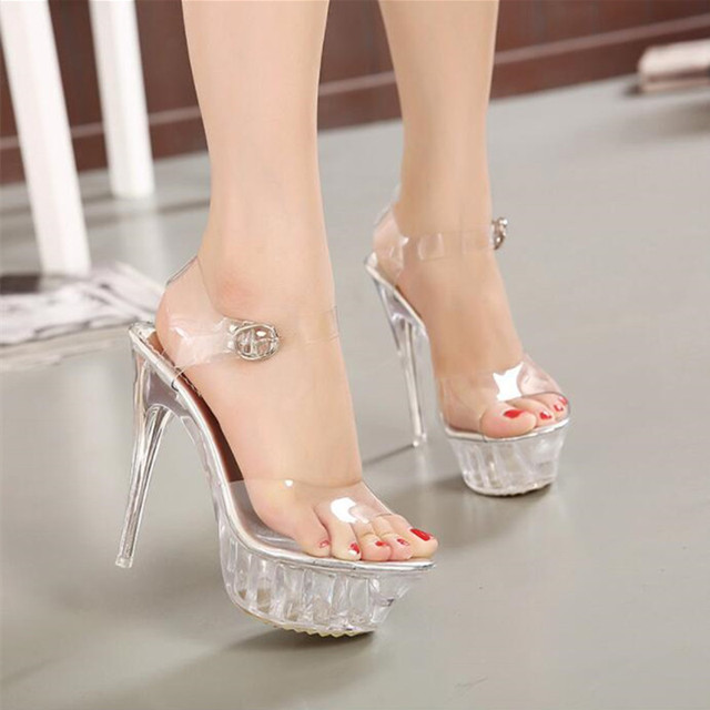 New lady crystal high heels star high waterproof platform transparent sandals Sexy wedding shoes Big size 35-43 9wedding sandals