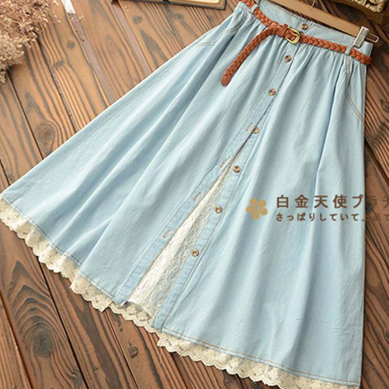 Mori Girl Casual Sweet Skirt Women Denim With Belt Solid Blue Lace Hem Female Mid Calf Skirt High Waist Skirts U157