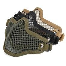 Nylon MetalOutdoor Strike Metal Mesh Mask Protective Mask Half Face Tactical Airsoft Military Face Mask Black White Mud