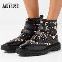 Jady Rose Rivets Studded Women Martin Boots Punk Style Short Botas Mujer Female Platform Rubber Flat