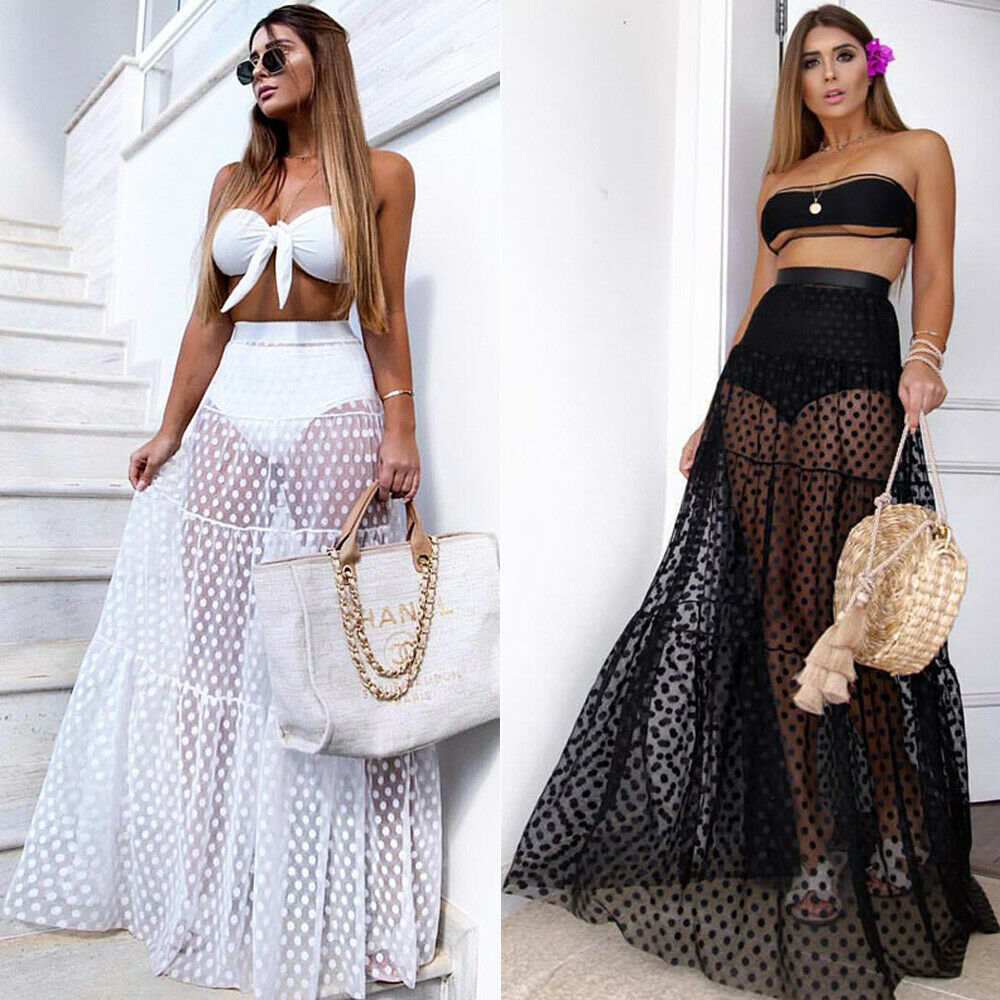 2019 New Style Women Sexy Bikini Cover Up Skirt High Waist Dot Dress Summer Transparent Long Maxi Skirt Long Beachwear Outfit