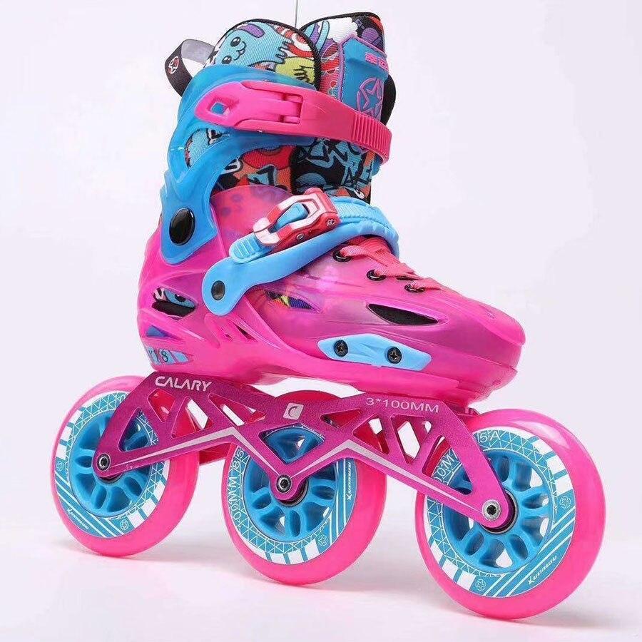 Taille enfant réglable 3*100mm vitesse patins à roues alignées chaussures de patinage sur rue Patines gratuites