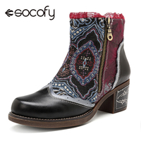 Socofy Canvas Patchwork Genuine Leather Ankle Boots Women   Shoes   Vintage Printed Winter 2018 Women Boots Block Heels Botas Mujer
