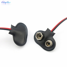 100Pcs Black T-Type 9V PPP3 Battery Wire Junction Snap Clip Case Socket With Wires