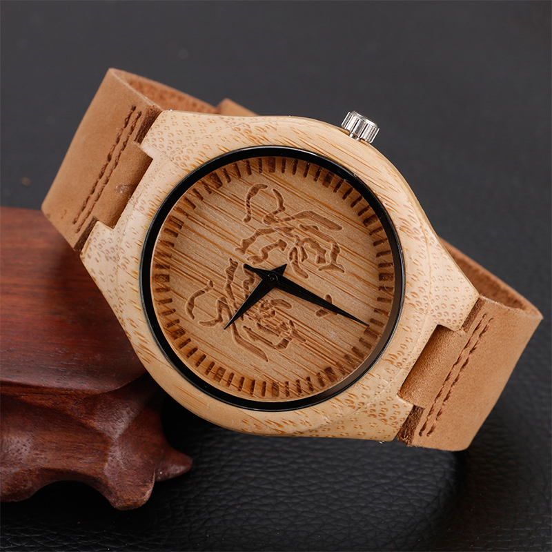 Simple Tiger Pattern Nature Wood Bamboo Wrist Watch Genuine Leather Band Strap Men Women Sport Creative