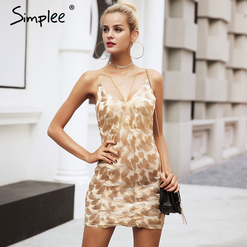 Simplee Gold embroidery strap sexy dress Women sleeveless evening party dress Christmas bodycon short dress mini vestidos
