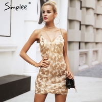 Simplee Gold Embroidery Strap Sexy Dress Women Sleeveless Evening Party Dress Christmas Bodycon Short Dress Mini