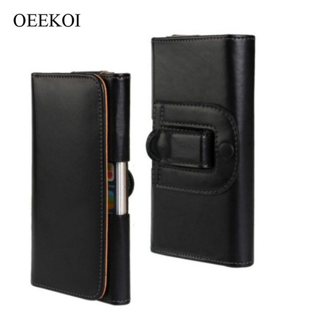 OEEKOI Belt Clip PU Leather Waist Holder Flip Cover Pouch Case for Philips Xenium V526 LTE/I908/V387/W8555/W3500/W6610 5 Inch