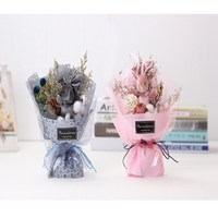 Hand made creative gift bouquet of love grass rabbit mini hand holding flowers Free Shipping