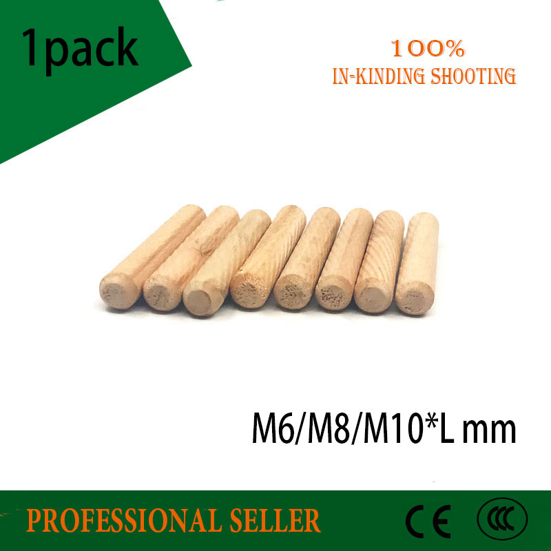 48 x WOODEN DOWELS HARDWOOD GROOVED FLUTED WOOD PINS M6 X 30MM