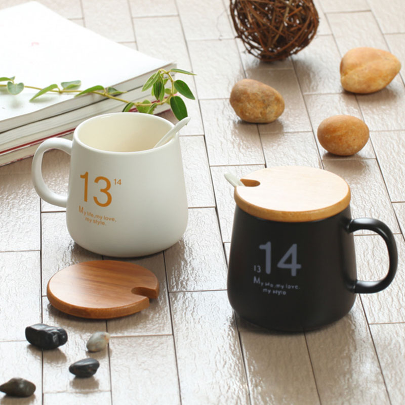 2pcs Ceramic Couples Morning Mug Coffee Milk Tea Mugs with Lid and Spoon Fashionable Birthday Gift for Lovers 1314 Mugs SH54