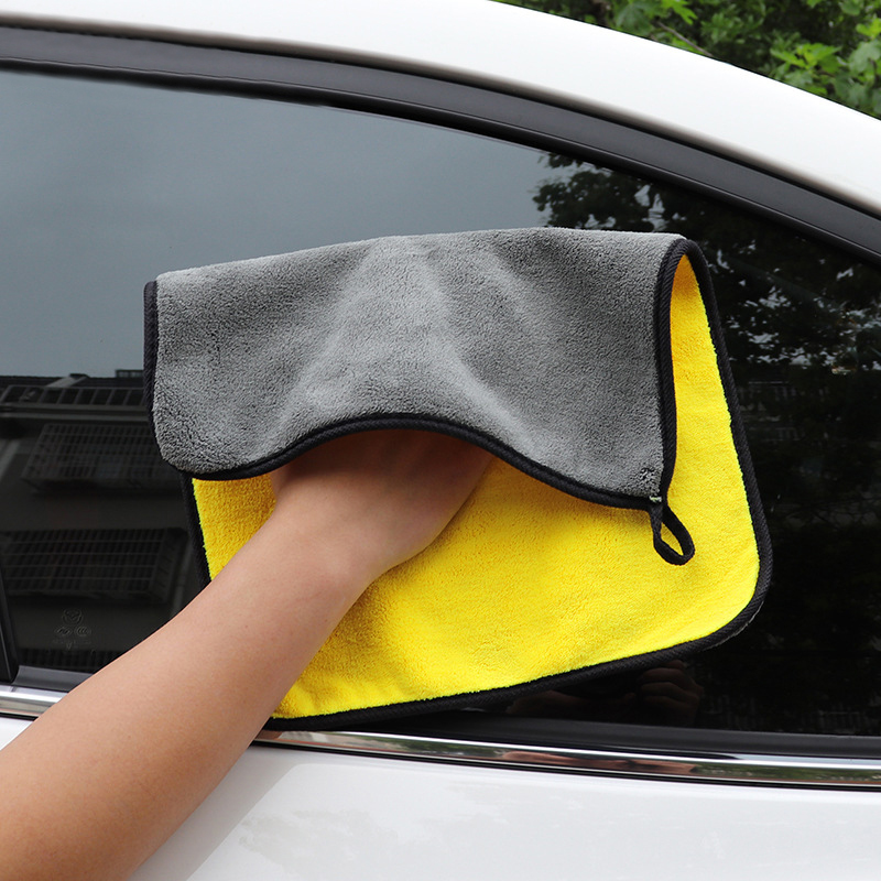 Car Care Car Cleaning Towel  Hemming Microfiber Coral Velvet  30*30cm Cloth Double Sided High Density 1pc New Wiping Absorbent(China)
