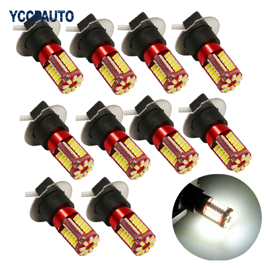 H1 H3 Led Lights Xenon White Bulb Super Bright 3014 57SMD Car Fog Light Daytime Running Light DRL Auto Light Source DC12V 10Pcs