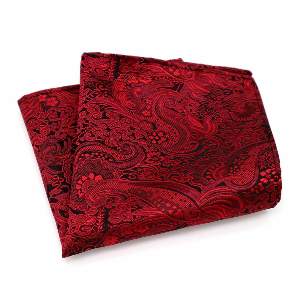 F174 Classic Men's Silk Handkerchief Vintage Hanky Woven Red Floral Pocket Square 25*25cm Wedding Party Chest Towel Accessories