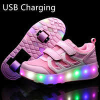 Heelies 2019 New USB Charge LED Colorful Children Kids Fashion Sneakers with Two Wheels Roller Skate Shoes Boys Girls Shoes 03
