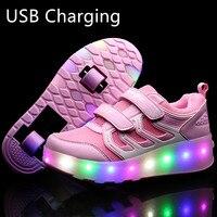 Heelys 2019 nowy USB ładowania LED kolorowe dzieci dzieci modne trampki z dwoma kołami buty rolki chłopcy dziewczęta buty 03 w Trampki od Matka i dzieci na