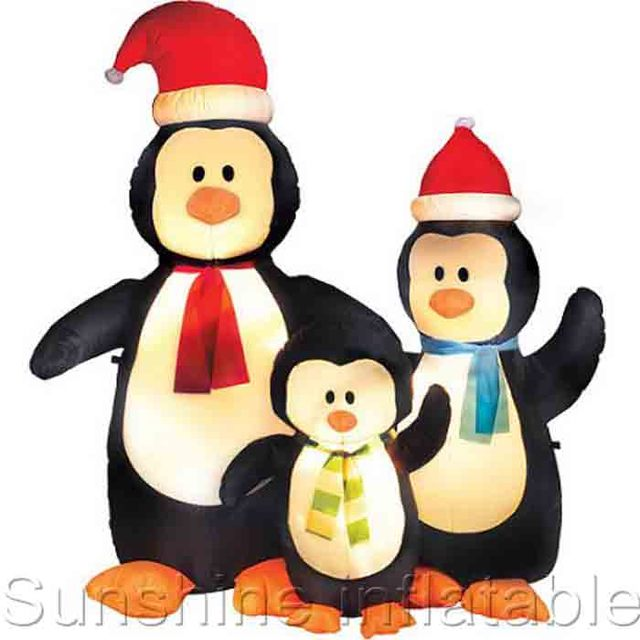 5ft Airblown Christmas Inflatable Penguin Decorations Inflatable Penguin Family With Red Christmas Hat For Yard Decoration