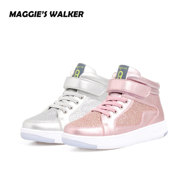 MAGGIE'S WALKER Kids Boys Girls Sneakers Casual Shoes Fashion Glitter Outdoor Ankle Shoes Child Breathable Sport Trainers Shoes hobibear classic sport kids shoes girls school sneakers fashion active shoes for boys trainers all season 26 37
