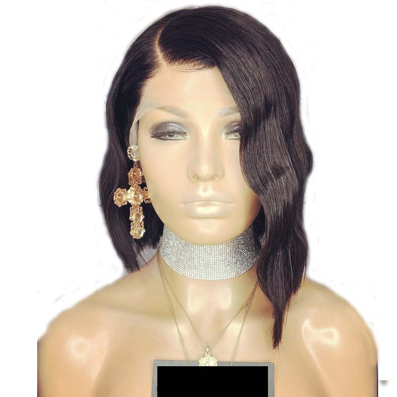 LUFFYHAIR Short Deep Wave Lace Front Wigs Right Side Part Brazilian Remy Hair Lace Front Bob Wigs Pre Plucked For Black Women