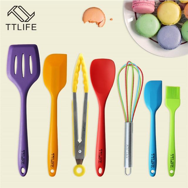 Ttlife 7 Piece Colore Premium Silicone Cuisine Ustensiles De Cuisine