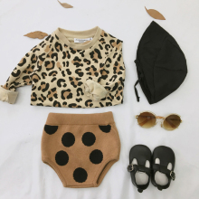 Одежда для маленьких девочек; топ с леопардовым принтом; свитер с длинными рукавами; детская одежда; хлопковая одежда; модная одежда; осенний костюм