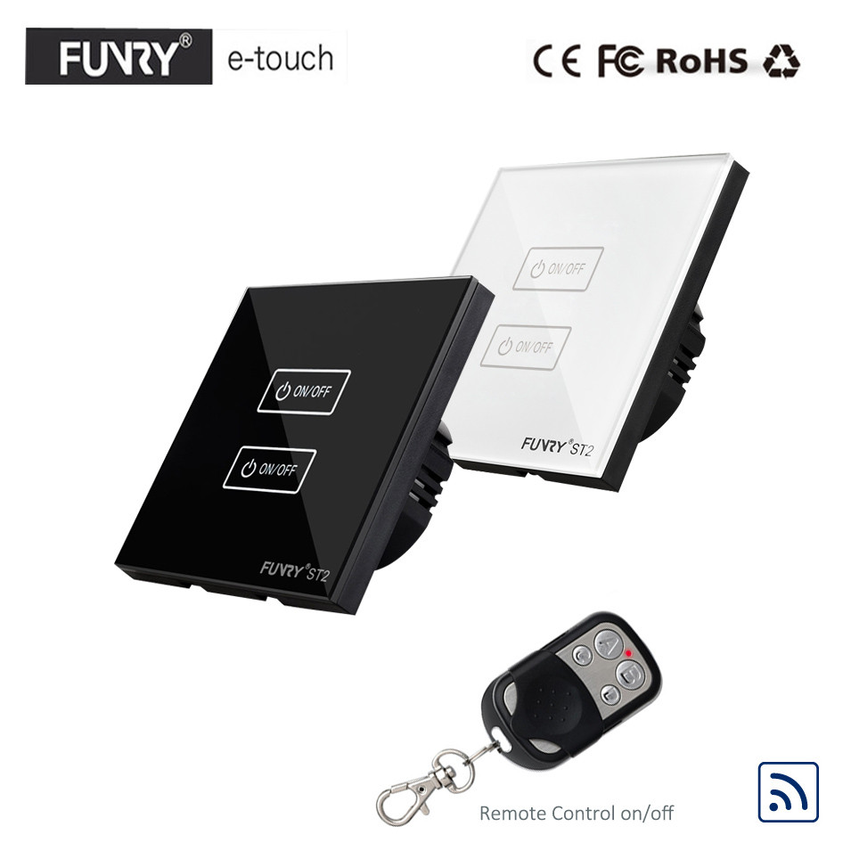 FUNRY EU/UK Type RF433 Wireless Remote Control Led Light Switches, 2 Gang 1 Way Wall Touch Waterproof Switch, 1 Year Warranty funry eu uk standard 1 gang 1 way led light wall switch crystal glass panel touch switch wireless remote control light switches