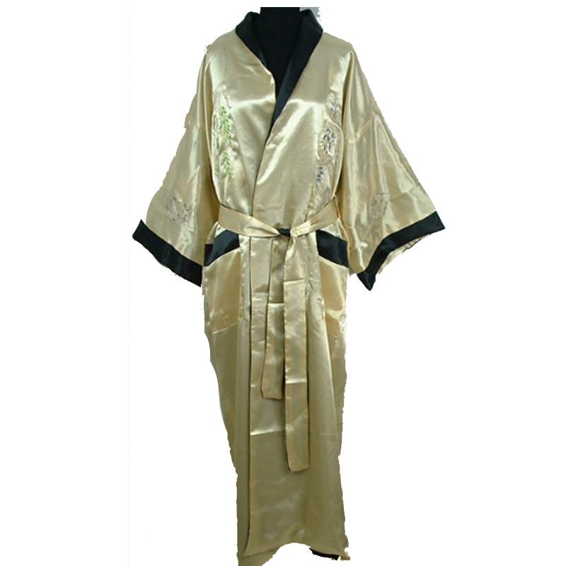 Reversible Black/Burgundy Men's Satin Silk Kimono Gown Chinese Traditional Embroidery Sleepwear Bandage Robe One Size 011011