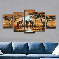 Handpainted Abstract Landscape Oil Paintings on Canvas Large 5 Panel Wall Painting Modern African Tree Elephant Pictures Arts