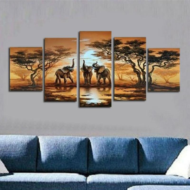 Peint à la main Paysage Abstrait Peintures À L'huile sur Toile Grand 5 Panneau Mural Peinture Africaine Moderne Arbre Éléphant Photos Arts