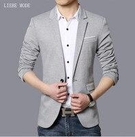 2017 Male Casual Business Suit Jacket Men Wedding Blazers Gray Black Royal Blue Fashion Korean Abrigo