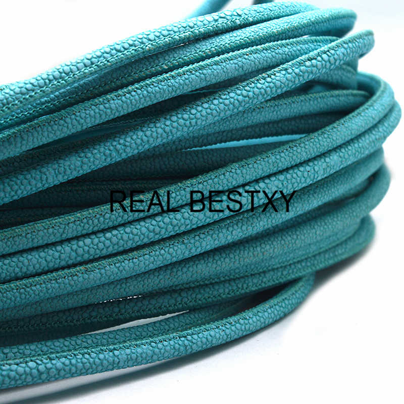 REAL BESTXY 1 m/lote 6mm color azulado redondo Stingray Cordón de cuero para hacer BraceleAt Artificial stingray cuero correas collar