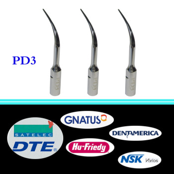 3 pieces/lot Dental Ultrasonic Scaler Tip PD3 for DTE/ Satelec/ NSK Varios/ Gnatus/ Bonart/ Rollence-S/ HU-  FRIEDY 3 pcs lot dental scaler tip ed4d for dte satelec nsk gnatus bonart dentist endo device instrument teeth whitening