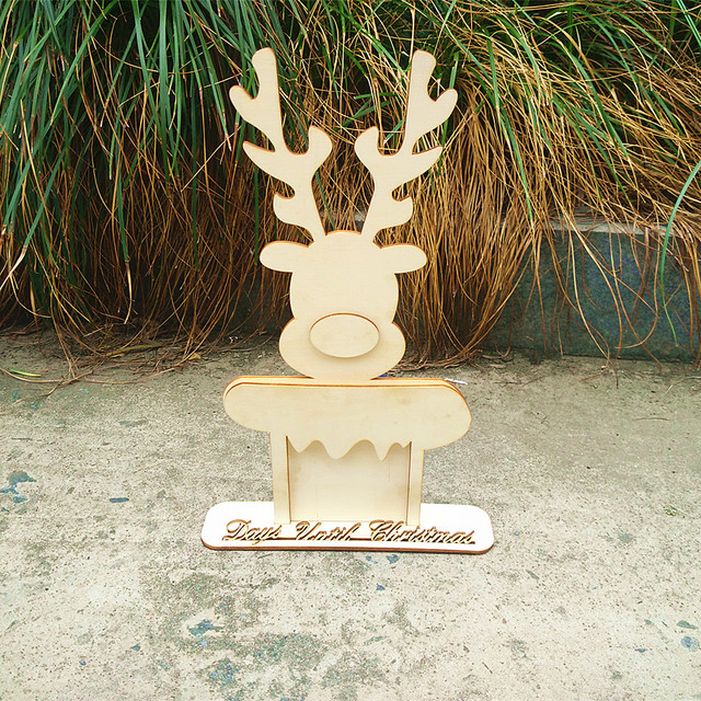 1 set 3d laser cut days until christmas reindeer sign craft blank large plaque christmas decorations