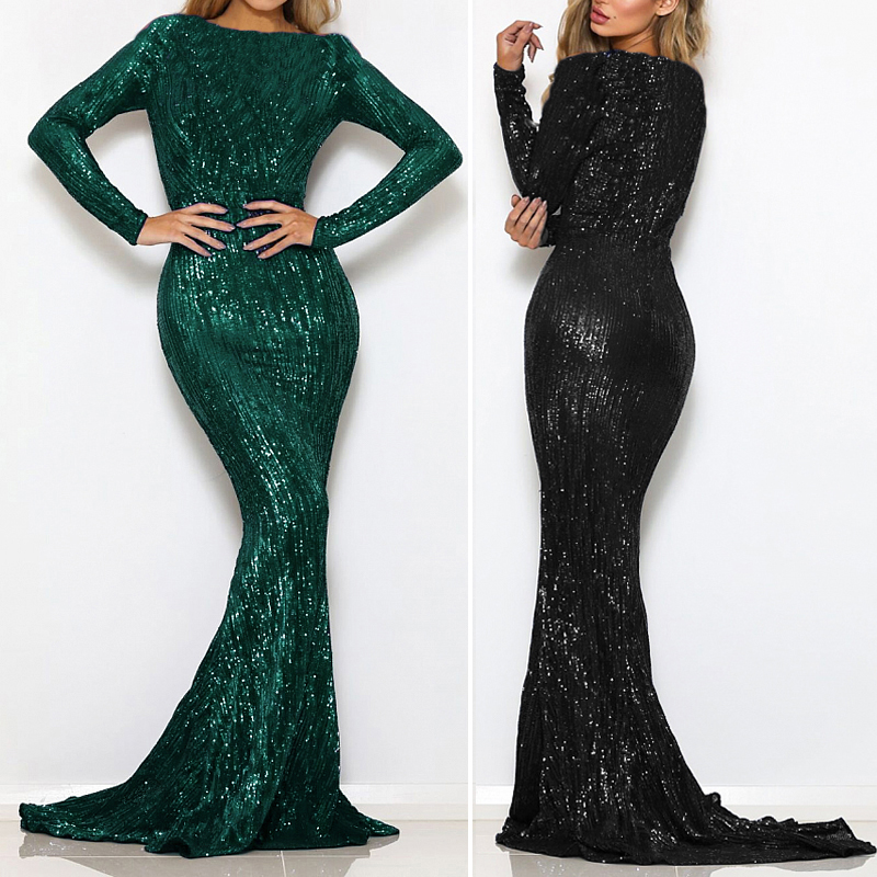 Stretchy Sequined Night Party Dress Floor Length O Neck Full Sleeved Maxi Dress Champagne Gold Navy Black Green-in Dresses from Women's Clothing