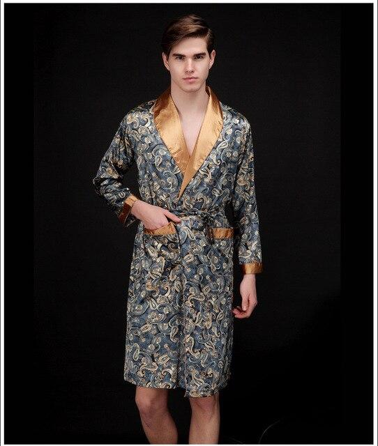 Мужская ночные сорочки искусственного шелка халаты пижамы джентельмен домашняя одежда халаты мужчины с длинным рукавом атласа пижамы залы ожидания ночное