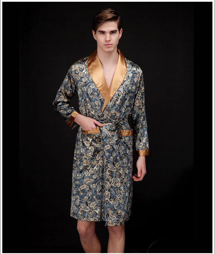 Mens nightgowns  faux silk robes pyjamas gentlemens homewear bathrobes male long sleeve satin sleepwear Lounges   nightwear