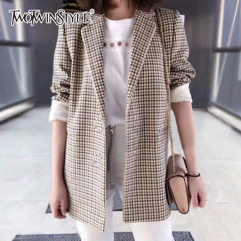 TWOTWINSTYLE Plaid Veste Femmes Manches Longues Casual Manteaux Tops Femme Angleterre Style Vêtements Grande Taille 2018 Automne Hiver
