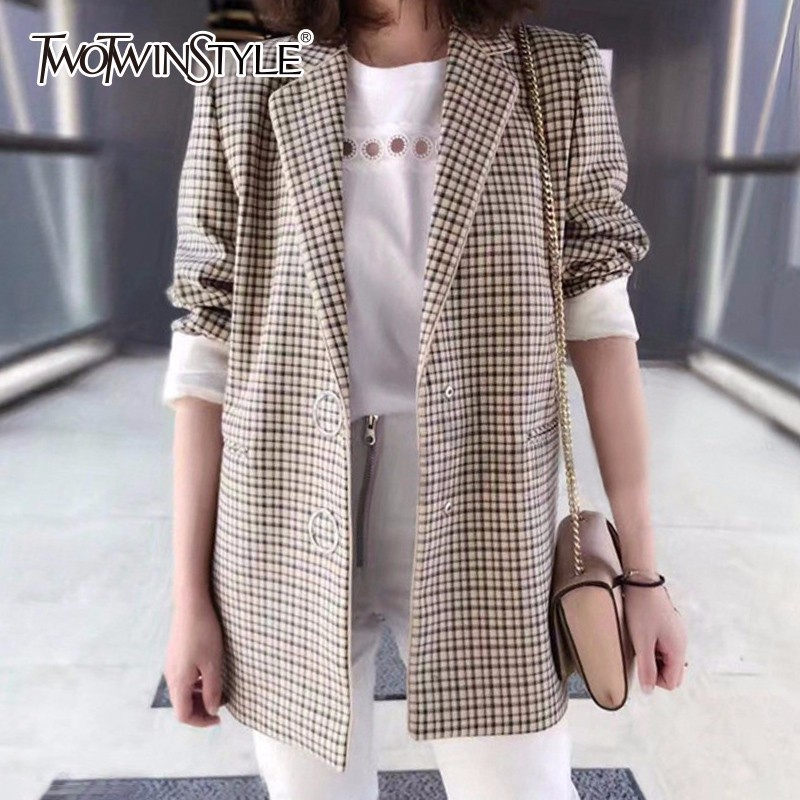 TWOTWINSTYLE Plaid Jacket Women Long Sleeve Casual Coats Tops Female England Sty