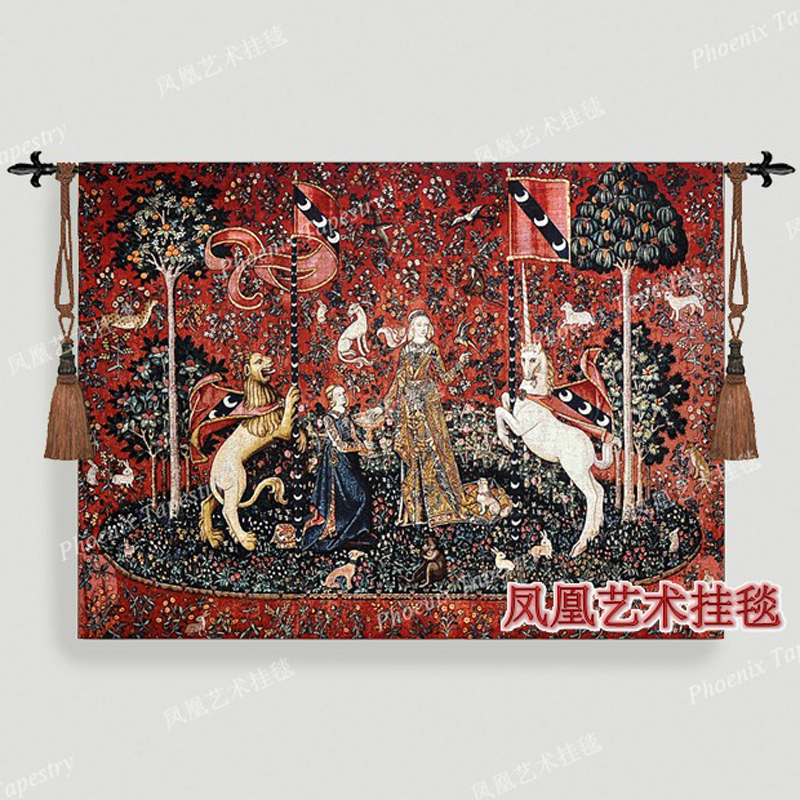 Medieval 100 cotton tapestry wall hanging decoration home textile 104cmX140cm series Sense of taste jacquard fabric