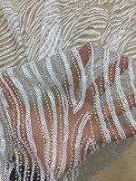 Высокое качество Африканский тюль с полной бисером и блестками кружевной ткани 2018 французский чистая кружевной ткани для нигерийских ASOEBI т