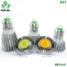 2016 New led bulb  E27 E14  Lampada Led MR16 GU5.3 COB 9w 12w 15w  Led  Spotlight Warm Cold White MR16 12V led Lamp GU 5.3 220V