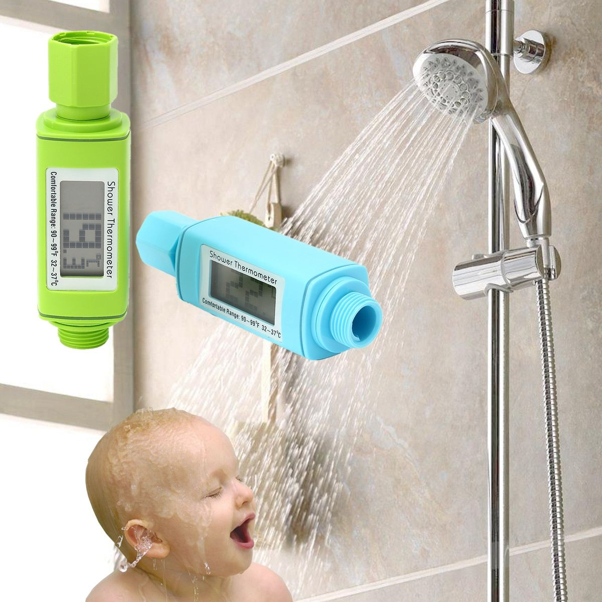 loskii lm 303 digital shower head water thermometer water temperture meter monitor for baby care. Black Bedroom Furniture Sets. Home Design Ideas