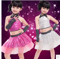 Воротник повод блестки вуаль платье юбка фуксии детская танцевальная одежда производительность одежда латинского танца сценический костюм