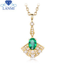 Natural Diamond Gemstone Jewelry Good Quality Emerald Pendant Necklace in Solid 14K Yellow Gold Wholesale for Women