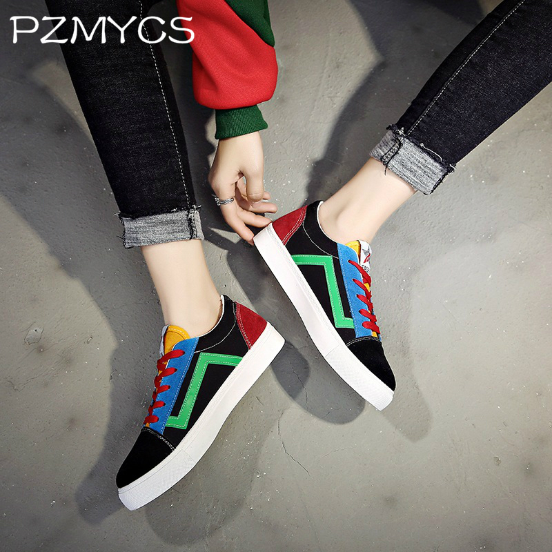 PZMYCS Women casual shoes 2018 new arrivals printed women canvas shoes woman tenis feminino breathable shoes sneakers pzmycs women sneakers light weight 2018 41 woman casual shoes slip on lazy shoes comfortable candy color breathable net shoe
