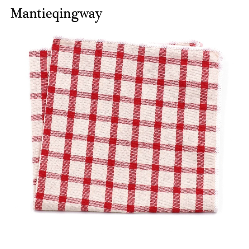 High Quality Handkerchief Men Vintage Plaid Hankies Men's Cotton Pocket Square Striped Handkerchiefs Chest Towel