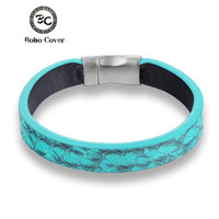 High Quailty Men Women Snake Skin Stainless Steel Bracelet Bangle Genuine Leather Hand Made Colorful Friendship
